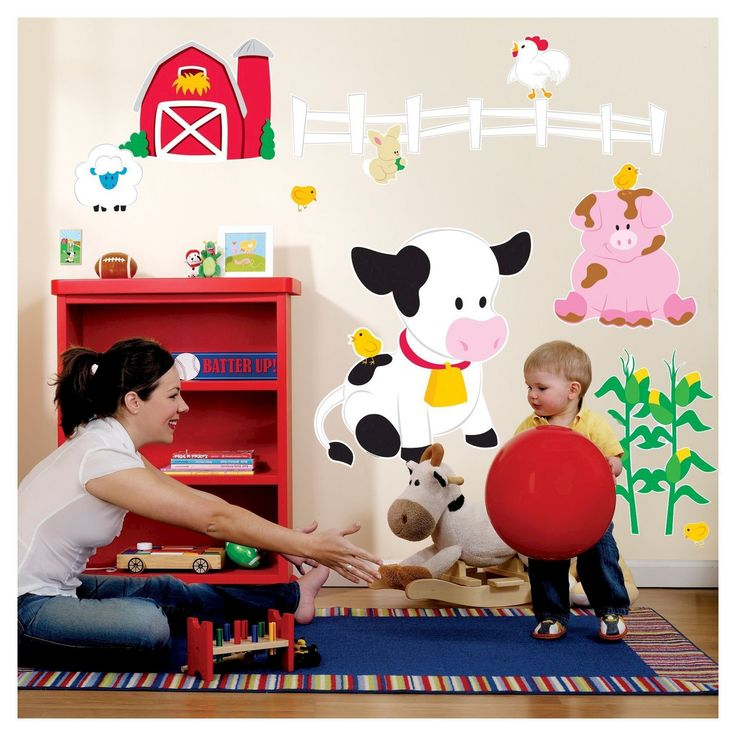 """Decals are made of vinyl and are for use on smooth, flat surfaces. Includes 1 large cow (23.5"""" wide x 26"""" high), 1 pig, 1 sheep, 1 rooster, 1 white fence, 1 red barn, 1 set of corn stalks, 1 rabbit, 2 chicks, and 1 light switch decoration. Includes 3"""" yellow squeegee as well as full use and care instructions."""