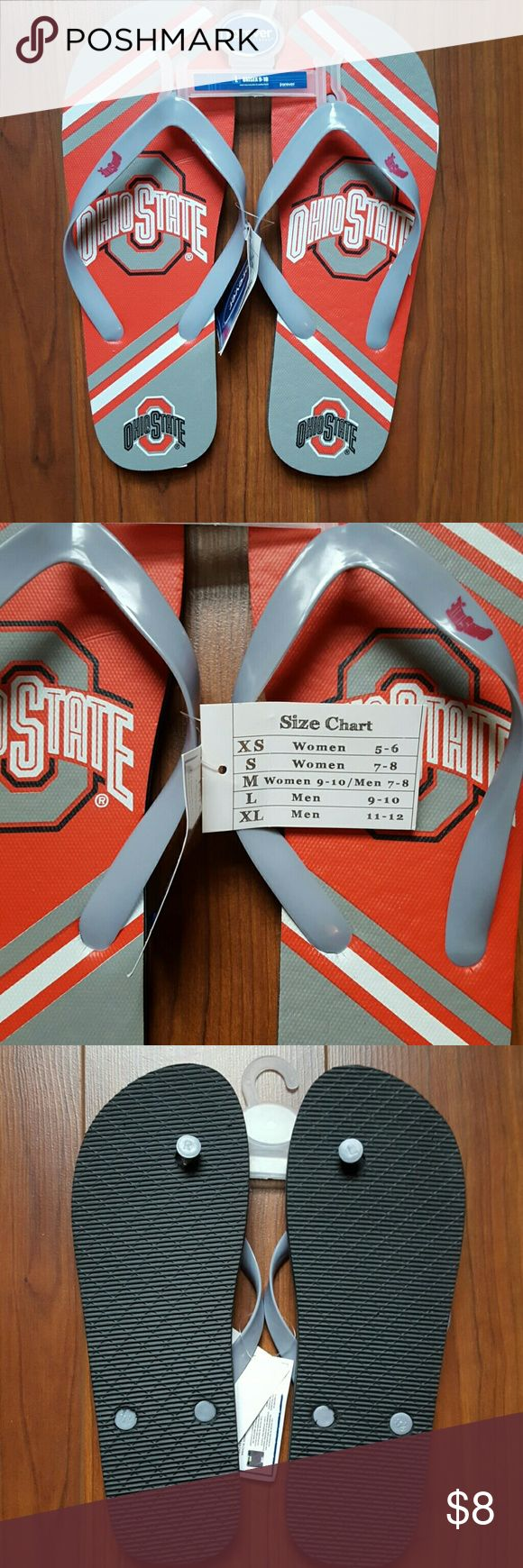 OSU flip flops. Unisex Never worn. OSU flip flops. Too big for me. Unisex. Size chart shown. Men's size 9-10  Comment with any questions! No trades. Open to offers. Shoes Sandals & Flip-Flops