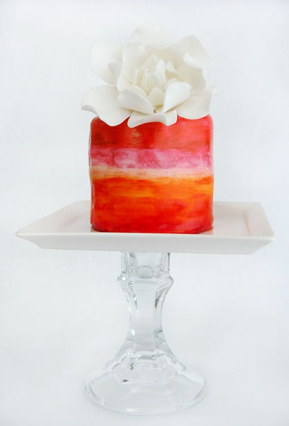 Beautiful Ombre Watercolor Little Cake
