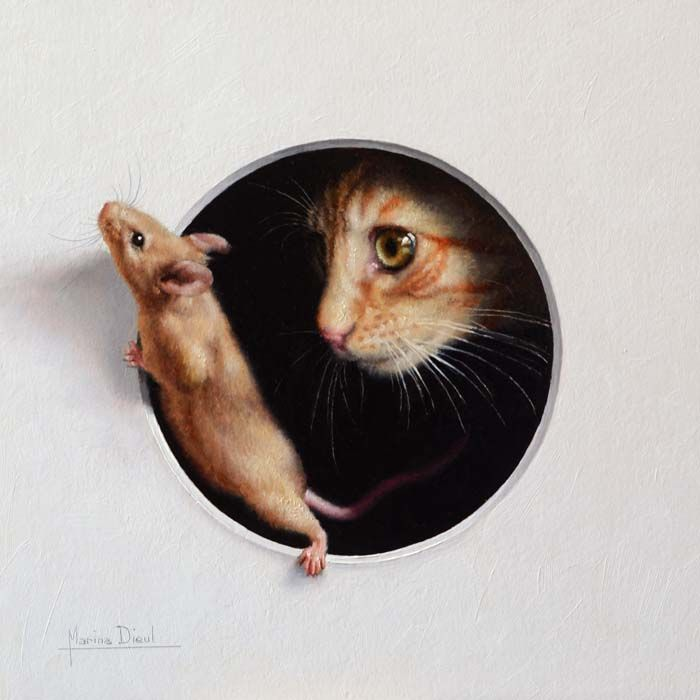 Cute paintings of mice, cats, bunnies and others  (livejournal)marinni: modern trompe l'oeil.