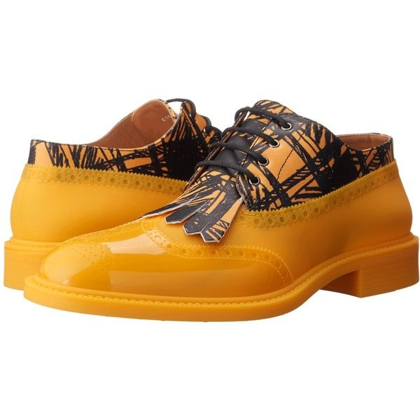 Vivienne Westwood Lace-up Brogue (Yellow/Black) Men's Lace up casual... ($248) ❤ liked on Polyvore featuring men's fashion, men's shoes, men's oxfords, yellow, mens brogue shoes, mens black brogues, yellow mens shoes, vivienne westwood mens shoes and mens black shoes