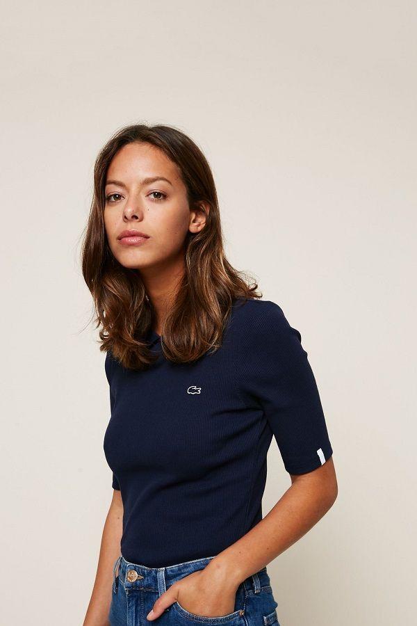3a58edf5156 Lacoste Polo bleu marine slim fit côtelé manches trois-quart pas cher prix  Polo Femme Monshowroom 100.00 €