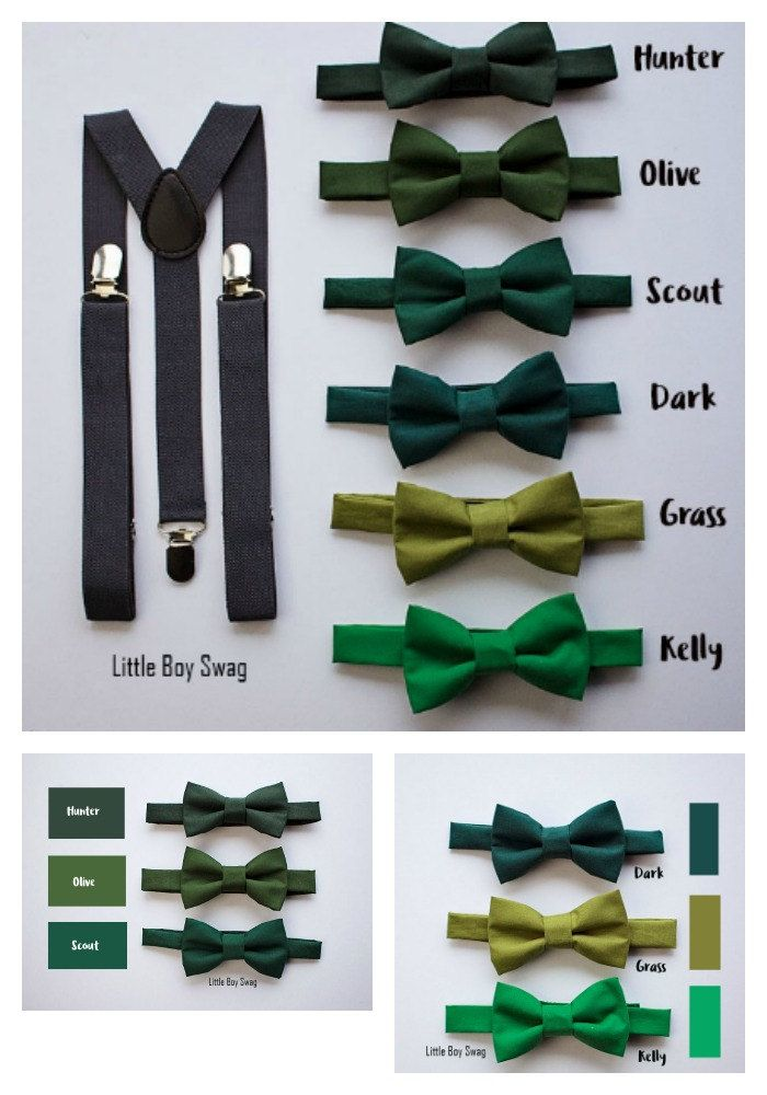 Green palette of #ringbearer #bowties. A perfect look for your green themed #wedding.  Boys Bow Tie and Suspenders for Boys to Men, Ring Bearer Outfit by LittleBoySwag on Etsy