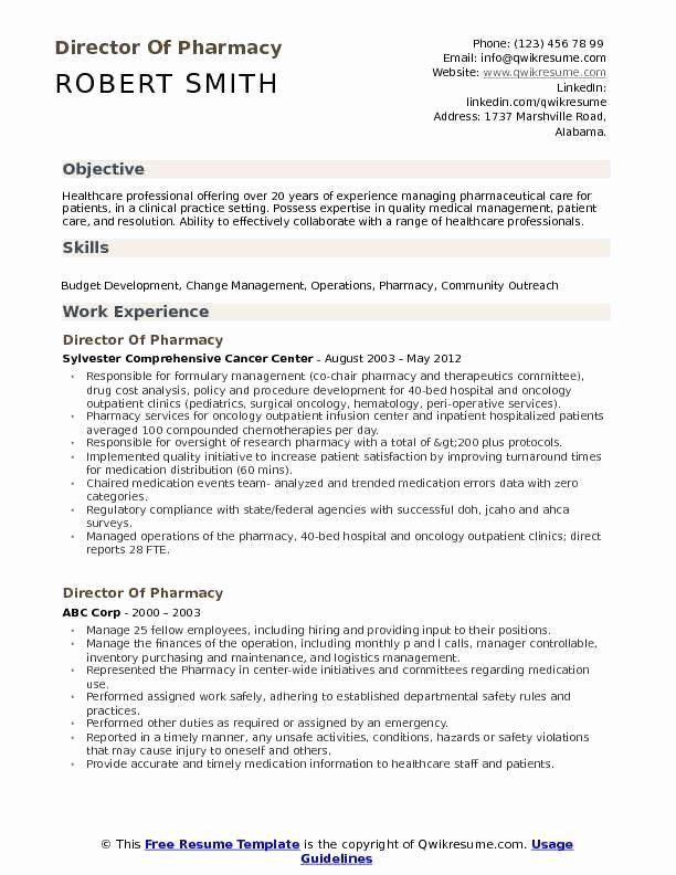 Resume For Hospital Job New Director Of Pharmacy Resume Samples In 2020 Teaching Resume Examples Teacher Resume Template Teacher Resume