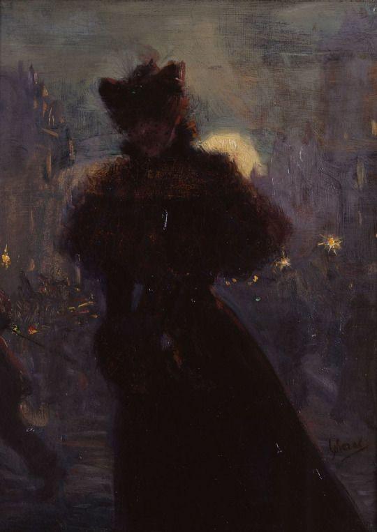Femme en Noir au Manchon ~ Jules Chéret 1885