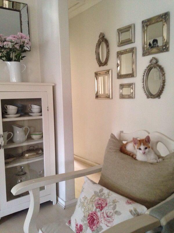 #white #floral #kitten #display cabinet #frames