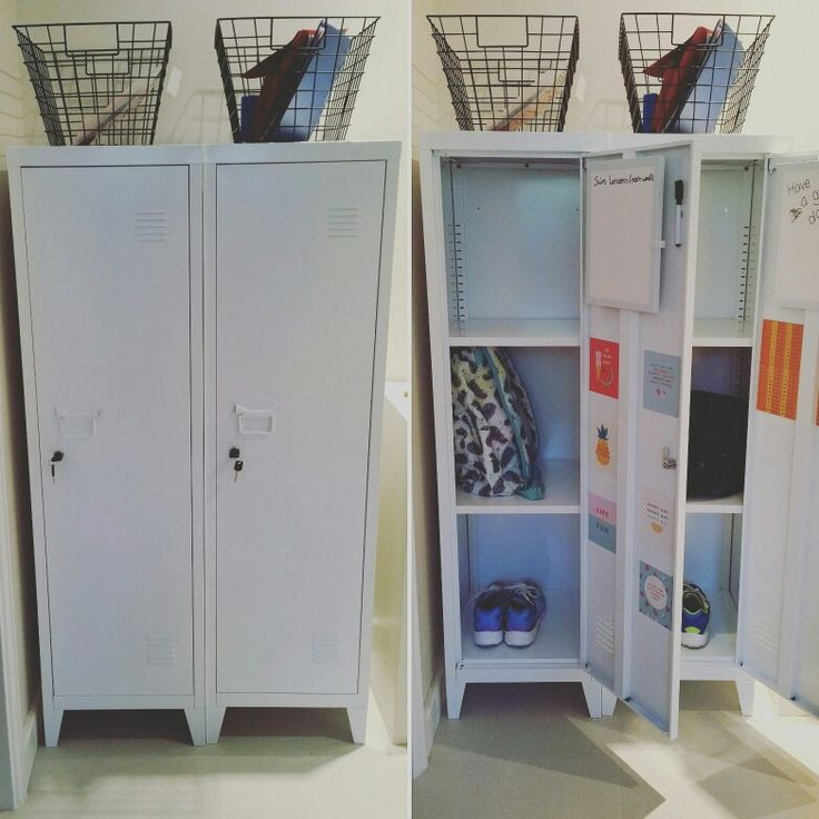 Great organising/storage idea for home. These lockers are from Kmart and are great for organising the k7ds school items. Homework goes in the basket above and is portable and easy to find. Magnets hold notes and work they are proud of. Whiteboards are for reminders. The kids love them!