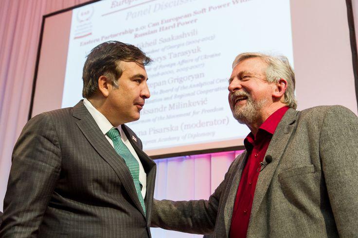 Mikheil Saakashvili with Aliaksandr Milinkievic