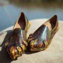 Бренд весна и осень один обувь панк натуральная кожа указал-toe палец на ноге лежа обувной квартиры женщины(China (Mainland))