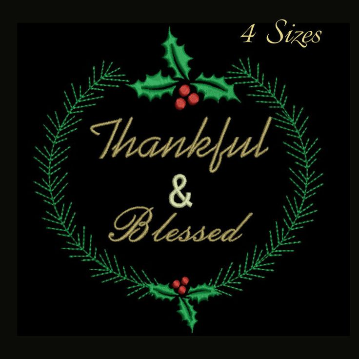 Thankful and Blessed embroidery design,Holly Berry pattern,holidays,winter by GretaembroideryShop on Etsy