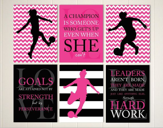 Girls wall art, soccer room decor, soccer girl, motivational girls quote, girls monogram art, custom colors and sports, et of 6