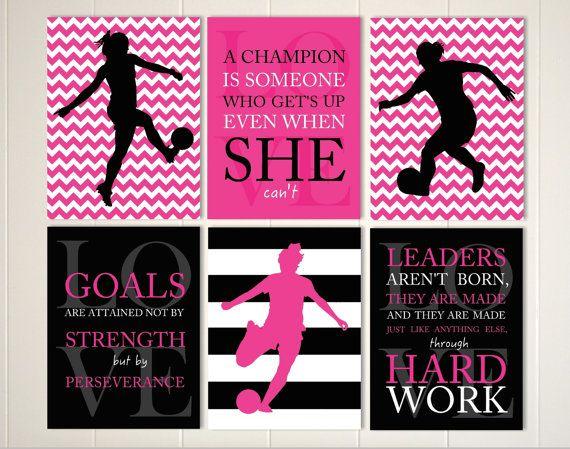 Girls wall art, soccer room decor, soccer girl, motivational girls quote, girls monogram art, custom colors and sports, et of 6