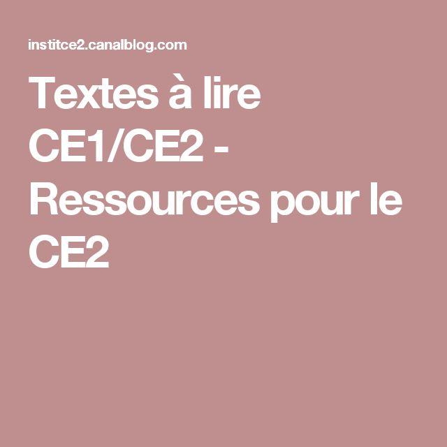Textes à lire CE1/CE2 - Ressources pour le CE2