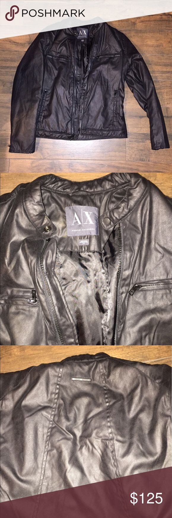 Armani Exchange A|X men's faux leather jacket L Never worn.  Size large.  Faux leather soft fabric jacket. A/X Armani Exchange Jackets & Coats