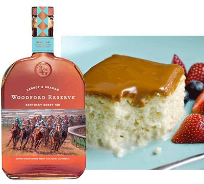 Tres Leches Cake with Woodford Reserve Bourbon -Can't choose between a Kentucky Derby or Cinco de Mayo celebration? Why not mix them both together and celebrate with these crossover cocktails, appetizers and dessert.