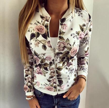 Fashion flower bomber jacket full zip up for teenage girls