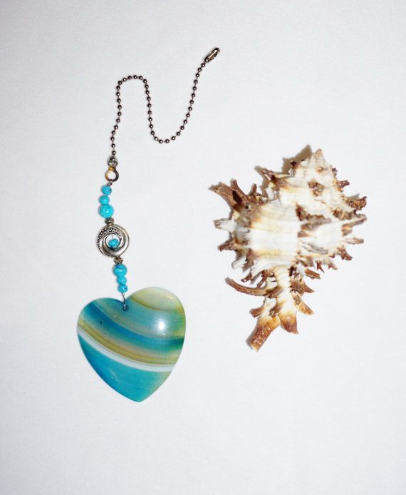Turquoise Agate Heart Fan Pull  Protection Stone Gifts