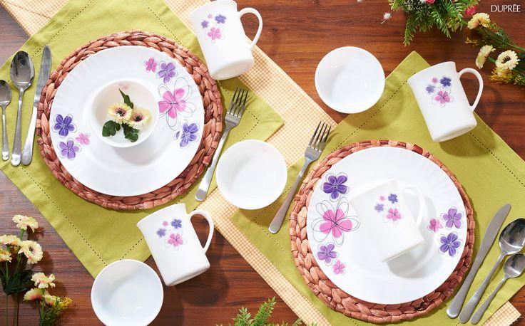 Vajilla con flores. Estilo vintage. Diseño innovador para hogar. Dupree