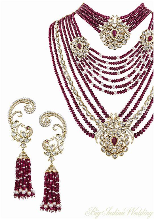 Mirari Rubies and Diamond set with peacock motif