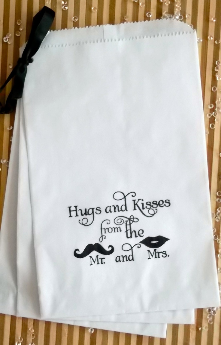 50 White retro 'Hugs and Kisses...' candy buffet bags, wedding cake bags,candy station bags, favor bags. $20.00, via Etsy.