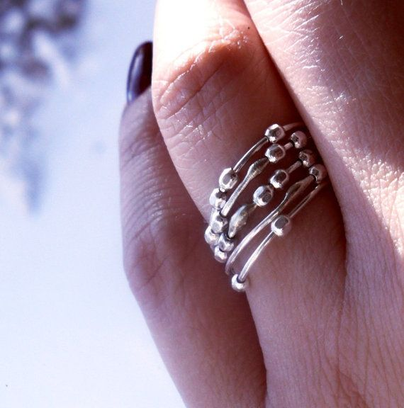 my Simply Skinny Spinnerette Stacking Rings - perfect for anxiety and ADHD! by TheLovelySmith on Etsy
