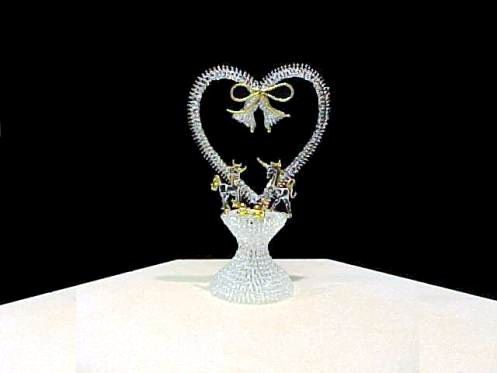 This Unicorn Horse Wedding Cake Top Has A Knitted Glass Heart Bells Solid Bow 2 Unicorns Cowboy Hats On