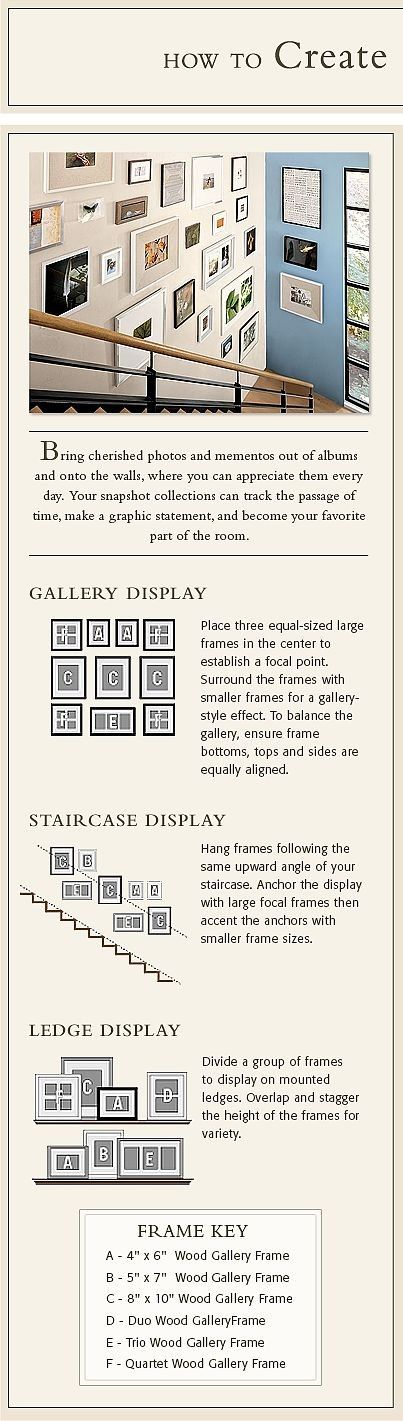 Here's a great plan for creating a gallery wall. Using Command(TM) Picture Hanging Strips can help you change your gallery around over time.