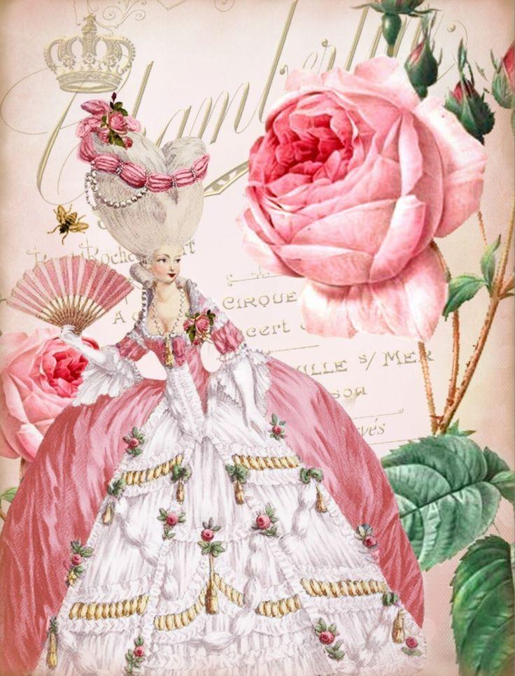 Paper - Fond - Printable - Vintage - Pink - Marie-Antoinette