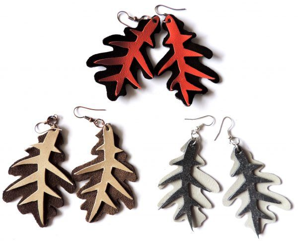(un)intentional contemporary art in Transylvania: Oak leaf / coral leather earrings