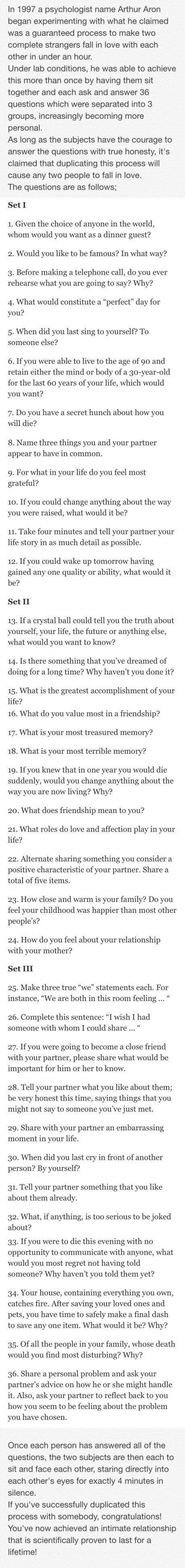 Think about answers for your characters; this is really helpful