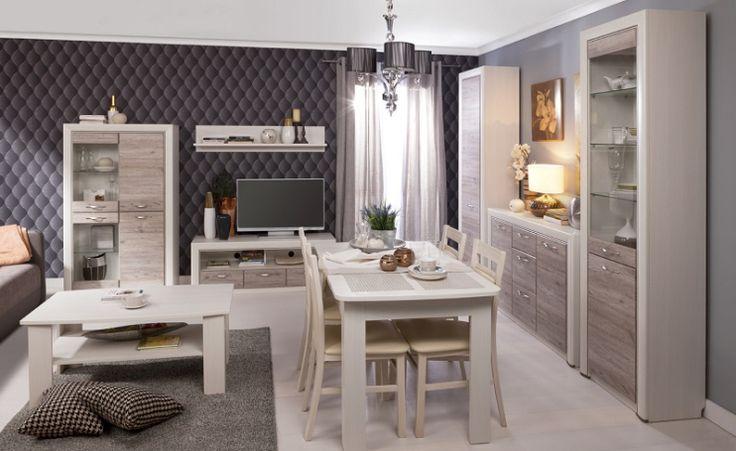 Pokój dzienny OLIVIA, krem / dąb ancona  #meble #dom #wnetrza #wystrój #mieszkanie