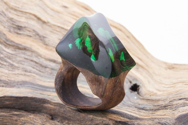 """Green Natural Wood Resin Ring """"Through the Clouds"""", Natural Jewelry, Wood Ring, Eco Ring, Blue sky Ecopoxy Resin, Exclusive Ring, Xmas Gift by NellyRomanova on Etsy"""