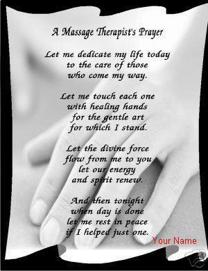 Massage Therapy Prayer