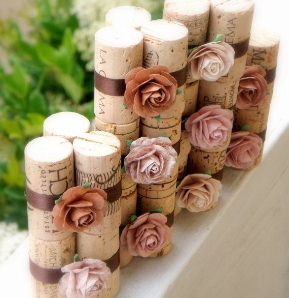chocolate latte place card holders vineyard collection set of repurposed wine corks for wedding reception or bridal shower