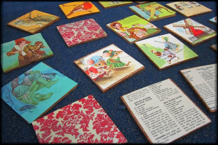 Varnished Paper & Cork Coasters ... Community Craft Group, Christchurch, New Zealand.
