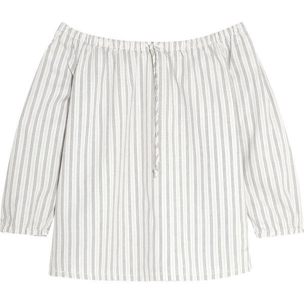 Madewell Off-the-shoulder striped cotton top (£90) ❤ liked on Polyvore featuring tops, shirts, white, off shoulder shirt, white off the shoulder top, white off shoulder top, off shoulder tops and striped shirt