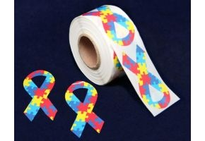 Autism Awareness Ribbon Stickers.  These large autism ribbon stickers are wonderful to put on posters and other items.  They come  250 stickers on a roll (ST-02-2)