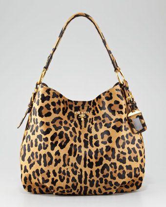 Prada Cavallino Hobo Leopard