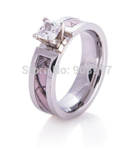 Best Seller 5mm Titanium 1ct AAA CZ inlaid Realtree AP Pink Camo Engagement Ring Camo wedding band lover rings engagement ring