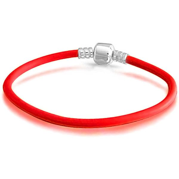 Leather 925 Silver Barrel Clasp Bracelet Pandora Compatible ($30) ❤ liked on Polyvore featuring jewelry, bracelets, silver, silver jewelry, leather rope bracelet, bead charms, silver bead charms and holiday jewelry
