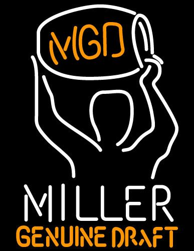 Miller Time MGD Kegman Neon Beer Sign, Miller MGD Neon Beer Signs & Lights   Neon Beer Signs & Lights. Makes a great gift. High impact, eye catching, real glass tube neon sign. In stock. Ships in 5 days or less. Brand New Indoor Neon Sign. Neon Tube thickness is 9MM. All Neon Signs have 1 year warranty and 0% breakage guarantee.