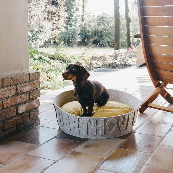 Organic wool felt personalized dog bed