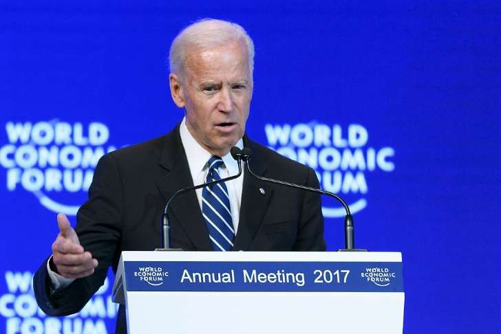 Joe Biden addresses the assembly on the second day of the World Economic Forum, on Jan. 18, 2017 in Davos.With the world's elite holding its breath until Donald Trump becomes the next US president, outgoing Vice-President Joe Biden addresses the World Economic Forum in Davos / AFP / FABRICE COFFRINI (Photo credit should read FABRICE COFFRINI/AFP/Getty Images)