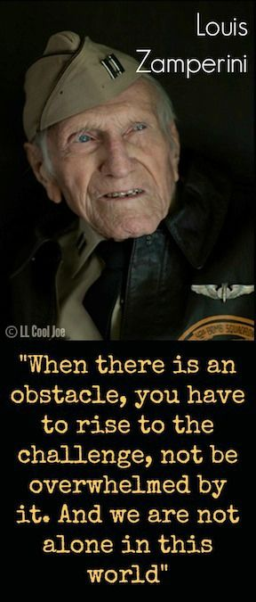 Louis Zamperini - a former US Olympic athlete and Second World War airman. Zamperini survived 47 days adrift after his aircraft crashed in the Pacific, and then spent two years as a prisoner of the Japanese.