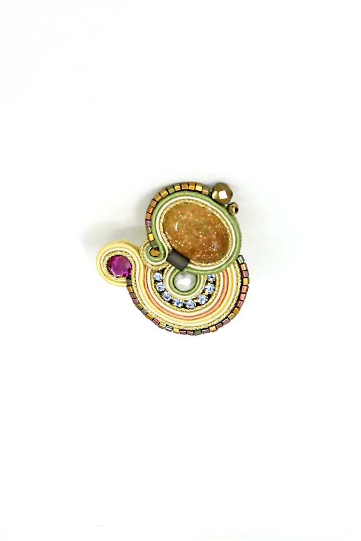 SHE-R101, SHER101, ring, rings, gold ring, pink, gold, pink gem, soutache, embroidery, hand embroidered, passementerie
