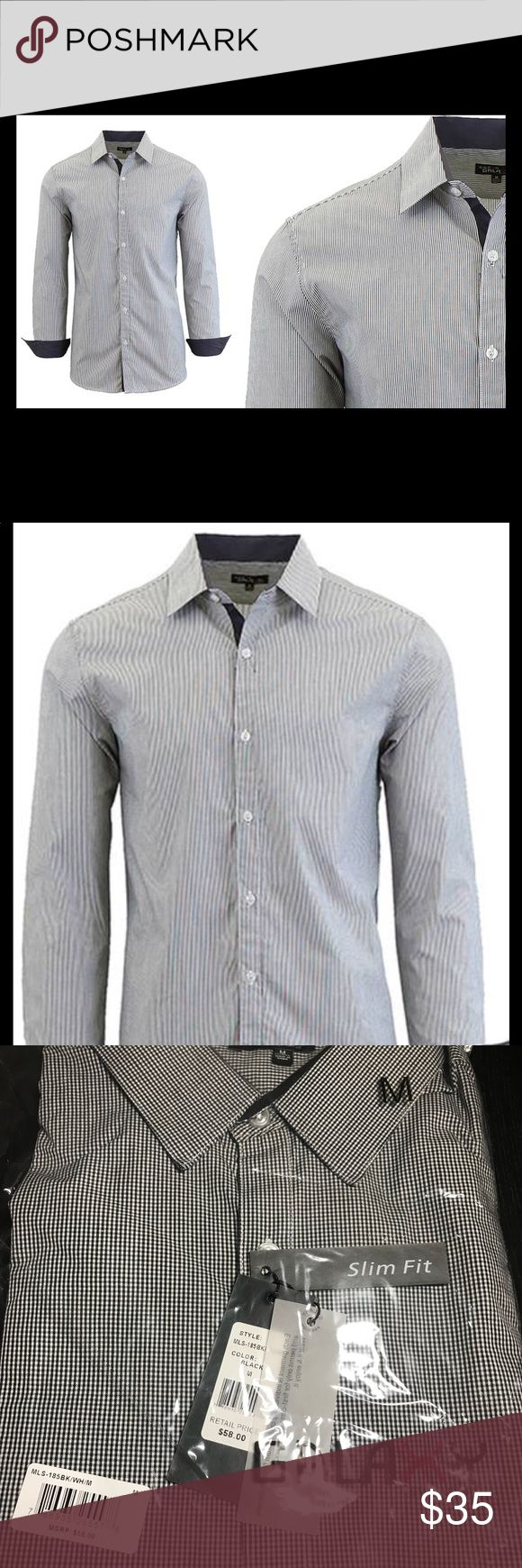 Mens slim fit dress shirt..Medium.. Featuring checkered or pinstripe fabric design, this dress shirt can be paired with suit and tie for a great formal look galaxy Shirts Dress Shirts