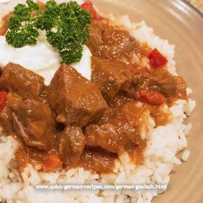 Anna Hannsen's German goulash is her mother's that she's altered for use in the slow cooker ... http://www.quick-german-recipes.com/german-goulash.html