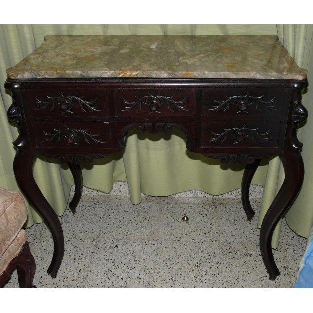 Consola antigua en caoba tallada siglo xx colecci n for Consolas antiguas muebles
