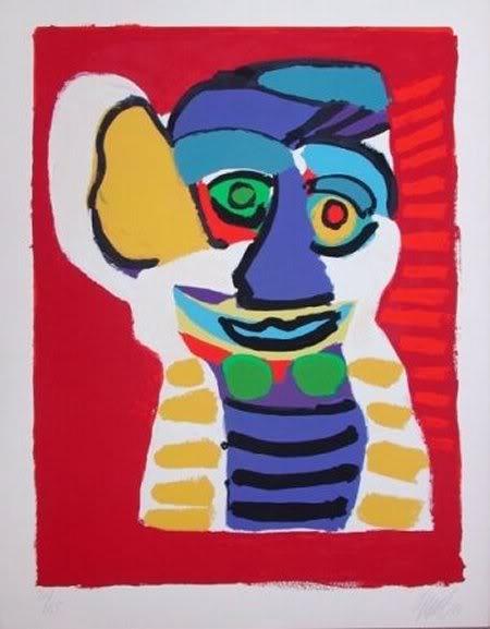 Karel Appel, (1921-2006), Vanaf 1957 reisde Appel regelmatig naar New York. Hij ontwikkelde zijn eigen stijl, onafhankelijk van anderen. Gedurende deze periode ging hij steeds meer in de richting van de abstracte kunst, hoewel hij dat zelf bleef ontkennen. Eind jaren zestig verhuisde Appel Zwitserland. Appel werd intussen steeds meer internationaal gewaardeerd. In 1968 kwam er eindelijk ook een solotentoonstelling in Amsterdam.