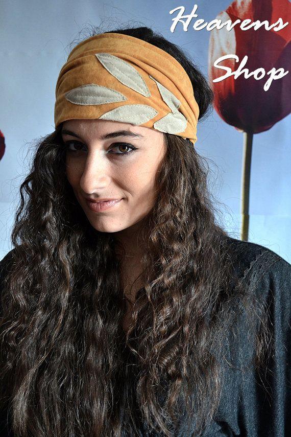 Wide Pale OrangeTurban With Leaf Appliques Headband by HeavensShop